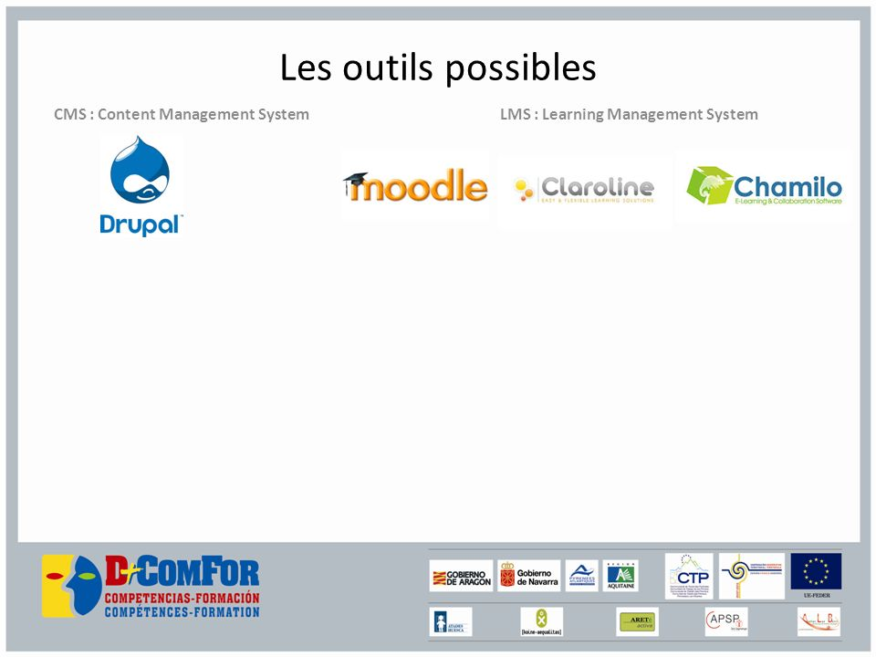 Les outils possibles CMS : Content Management System LMS : Learning Management System