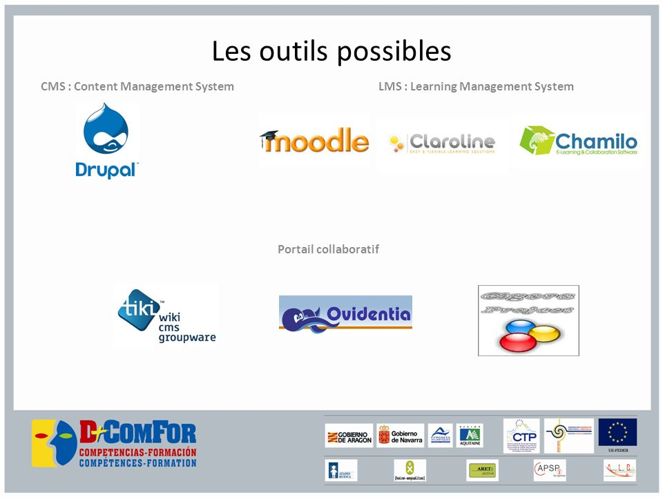 Les outils possibles CMS : Content Management System LMS : Learning Management System Portail collaboratif