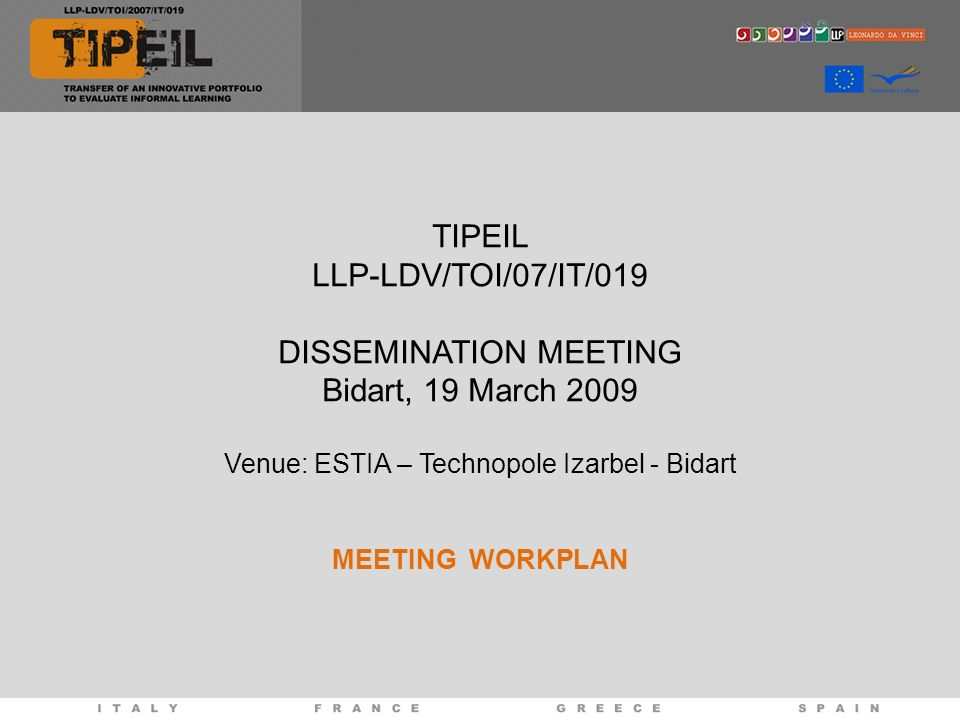 TIPEIL LLP-LDV/TOI/07/IT/019 DISSEMINATION MEETING Bidart, 19 March 2009 Venue: ESTIA – Technopole Izarbel - Bidart MEETING WORKPLAN