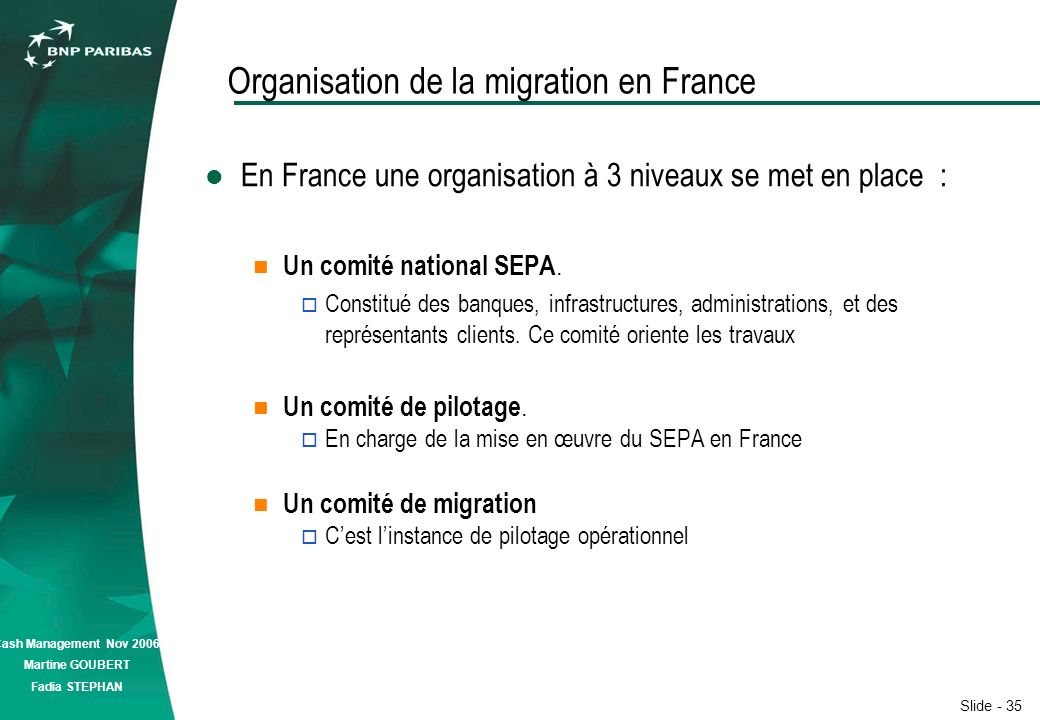 Slide - 35 Cash Management Nov 2006 Martine GOUBERT Fadia STEPHAN Organisation de la migration en France En France une organisation à 3 niveaux se met en place : Un comité national SEPA.