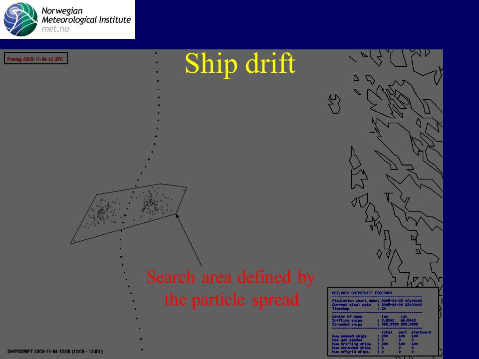 Norwegian Meteorological Institute Search area defined by the particle spread Ship drift