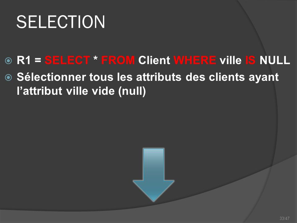 33/47 SELECTION R1 = SELECT * FROM Client WHERE ville IS NULL Sélectionner tous les attributs des clients ayant lattribut ville vide (null)