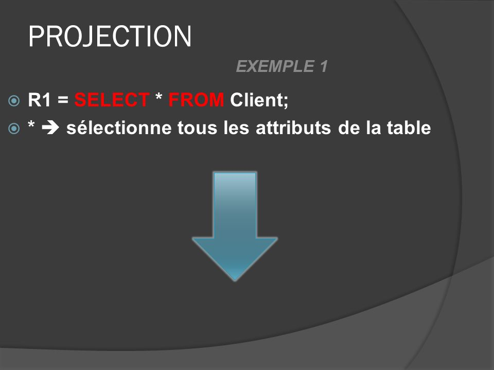 PROJECTION R1 = SELECT * FROM Client; * sélectionne tous les attributs de la table EXEMPLE 1