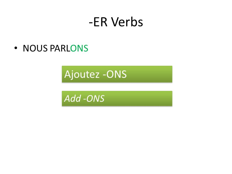 -ER Verbs NOUS PARLONS Ajoutez -ONS Add -ONS