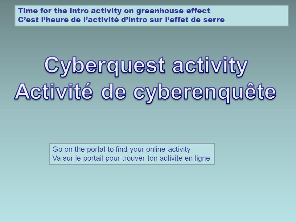 Time for the intro activity on greenhouse effect Cest lheure de lactivité dintro sur leffet de serre Go on the portal to find your online activity Va sur le portail pour trouver ton activité en ligne