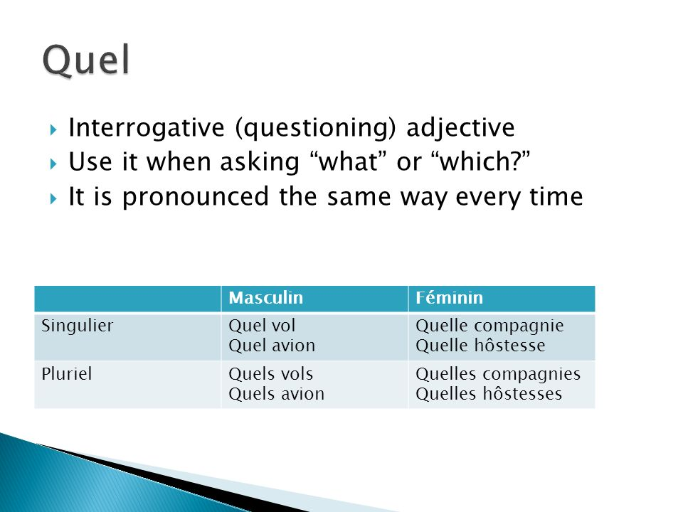 Interrogative (questioning) adjective Use it when asking what or which.