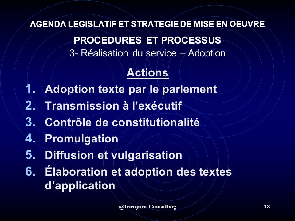 @fricajuris Consulting18 AGENDA LEGISLATIF ET STRATEGIE DE MISE EN OEUVRE PROCEDURES ET PROCESSUS 3- Réalisation du service – Adoption Actions 1.