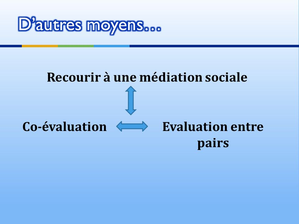 Recourir à une médiation sociale Co-évaluationEvaluation entre pairs