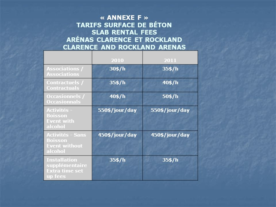 « ANNEXE F » TARIFS SURFACE DE BÉTON SLAB RENTAL FEES ARÉNAS CLARENCE ET ROCKLAND CLARENCE AND ROCKLAND ARENAS 2010 2011 Associations / Associations 30$/h35$/h Contractuels / Contractuals 35$/h40$/h Occasionnels / Occasionnals 40$/h50$/h Activit é s - Boisson Event with alcohol 550$/jour/day Activit é s - Sans Boisson Event without alcohol 450$/jour/day Installation suppl é mentaire Extra time set up fees 35$/h