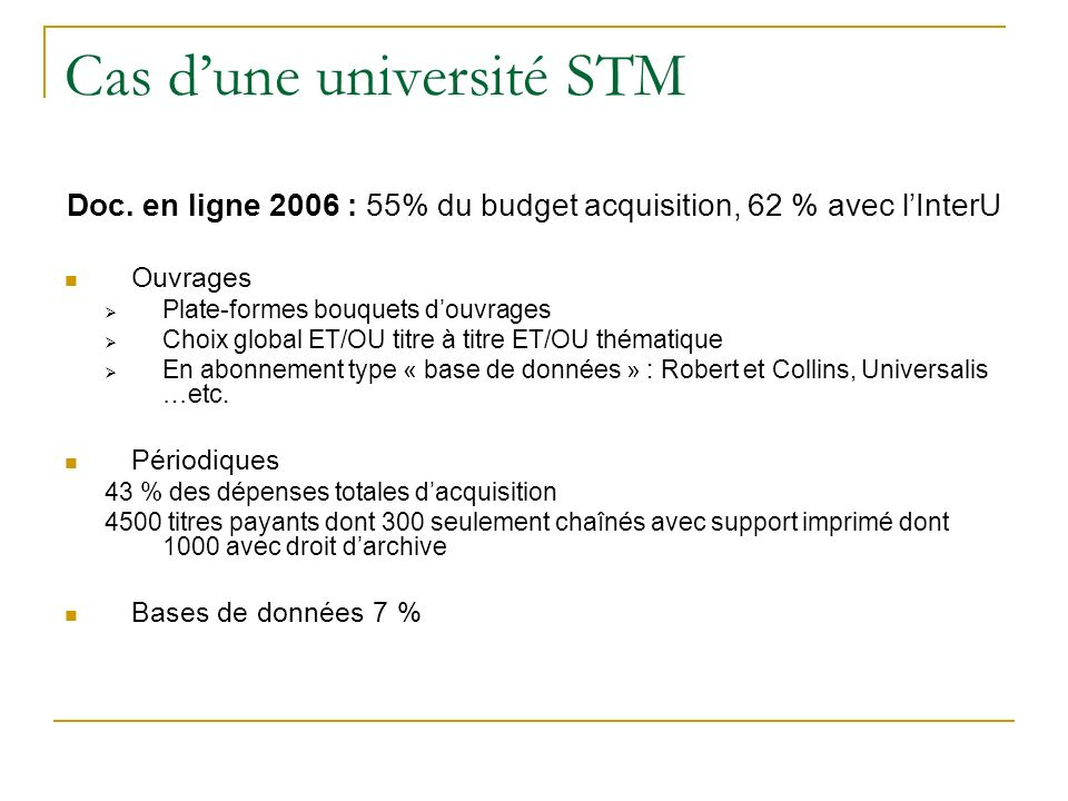 Cas dune université STM Doc.