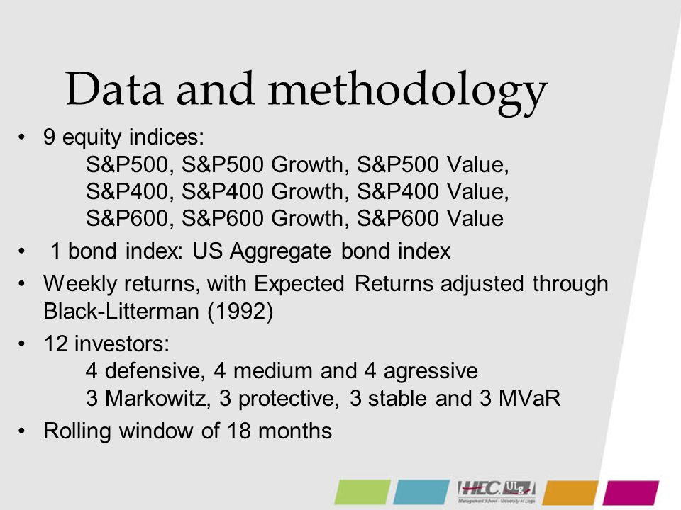 Data and methodology 9 equity indices: S&P500, S&P500 Growth, S&P500 Value, S&P400, S&P400 Growth, S&P400 Value, S&P600, S&P600 Growth, S&P600 Value 1 bond index: US Aggregate bond index Weekly returns, with Expected Returns adjusted through Black-Litterman (1992) 12 investors: 4 defensive, 4 medium and 4 agressive 3 Markowitz, 3 protective, 3 stable and 3 MVaR Rolling window of 18 months