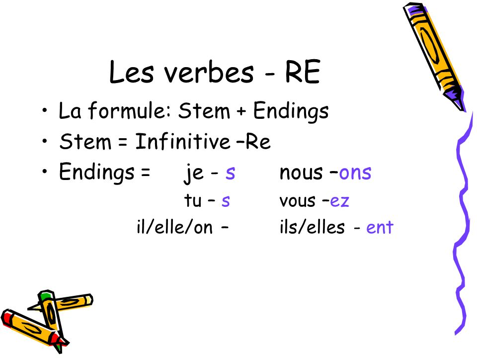 Les verbes - RE La formule: Stem + Endings Stem = Infinitive –Re Endings = je - snous –ons tu – s vous –ez il/elle/on – ils/elles - ent