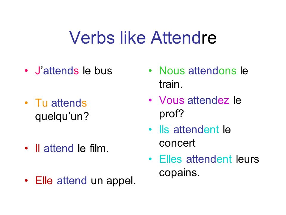 Verbs like Attendre Jattends le bus Tu attends quelquun.