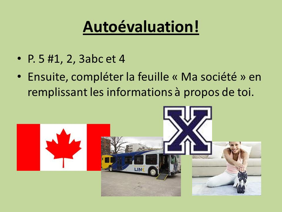 Autoévaluation. P.