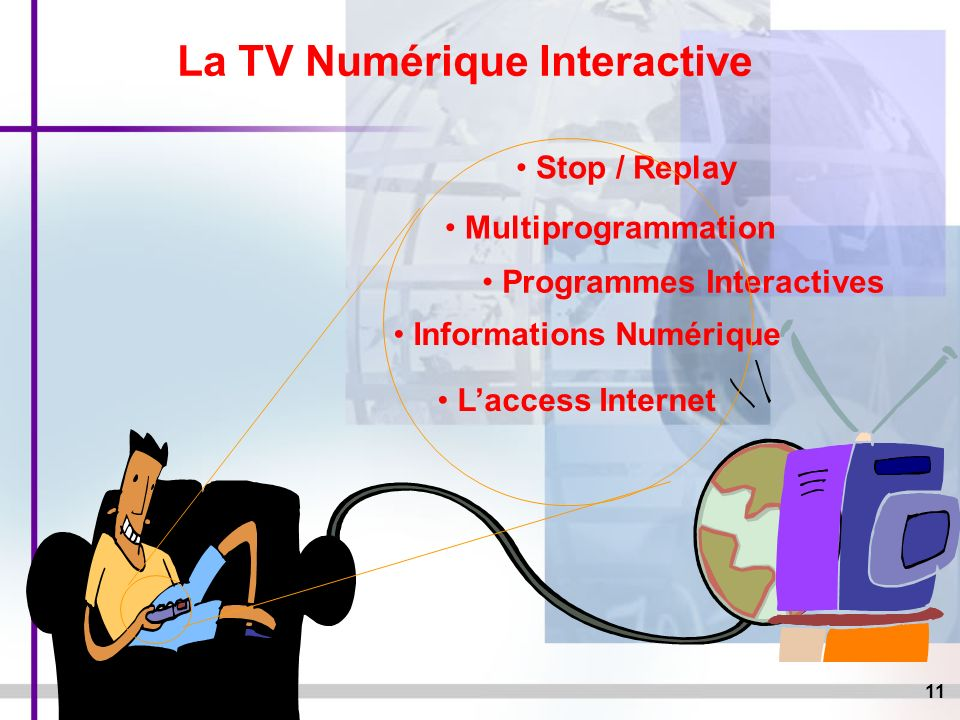 11 La TV Numérique Interactive Stop / Replay Informations Numérique Programmes Interactives Laccess Internet Multiprogrammation