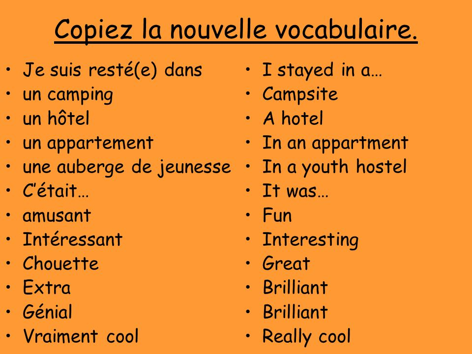 Copiez la nouvelle vocabulaire.