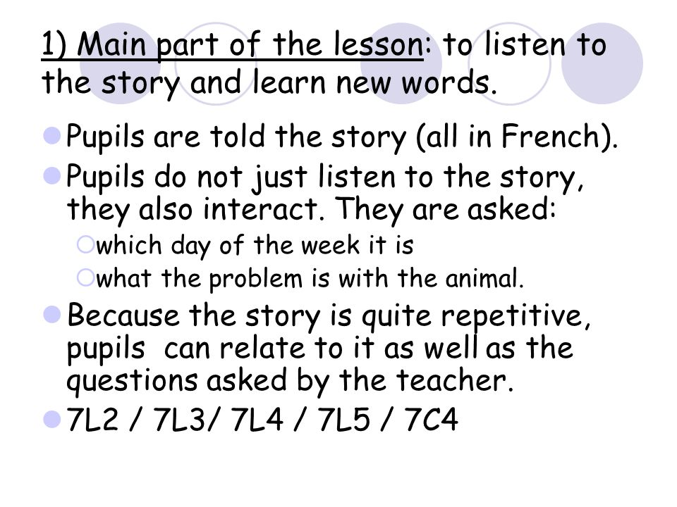 1) Main part of the lesson: to listen to the story and learn new words.
