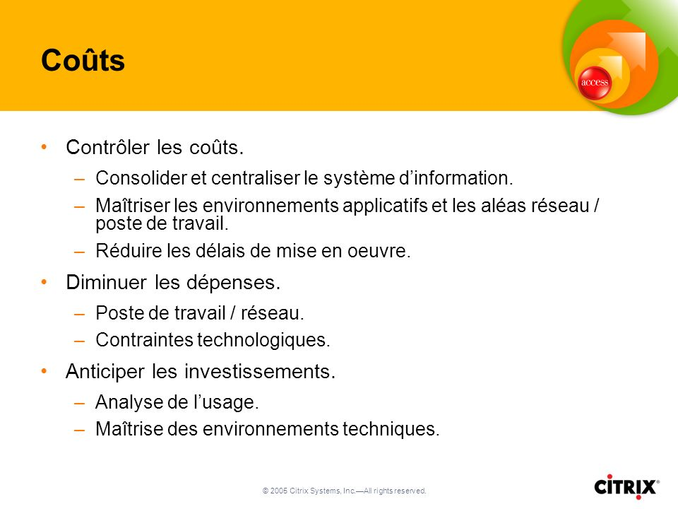 © 2005 Citrix Systems, Inc.All rights reserved. Coûts Contrôler les coûts.