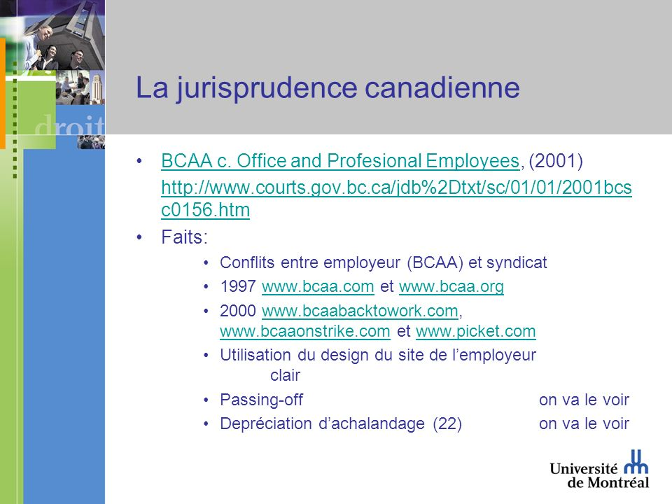 La jurisprudence canadienne BCAA c. Office and Profesional Employees, (2001)BCAA c.