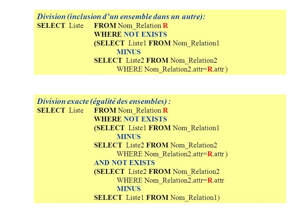 Division (inclusion dun ensemble dans un autre): SELECT Liste FROM Nom_Relation R WHERE NOT EXISTS (SELECT Liste1 FROM Nom_Relation1 MINUS SELECT Liste2 FROM Nom_Relation2 WHERE Nom_Relation2.attr=R.attr ) Division exacte (égalité des ensembles) : SELECT Liste FROM Nom_Relation R WHERE NOT EXISTS (SELECT Liste1 FROM Nom_Relation1 MINUS SELECT Liste2 FROM Nom_Relation2 WHERE Nom_Relation2.attr=R.attr ) AND NOT EXISTS (SELECT Liste2 FROM Nom_Relation2 WHERE Nom_Relation2.attr=R.attr MINUS SELECT Liste1 FROM Nom_Relation1)
