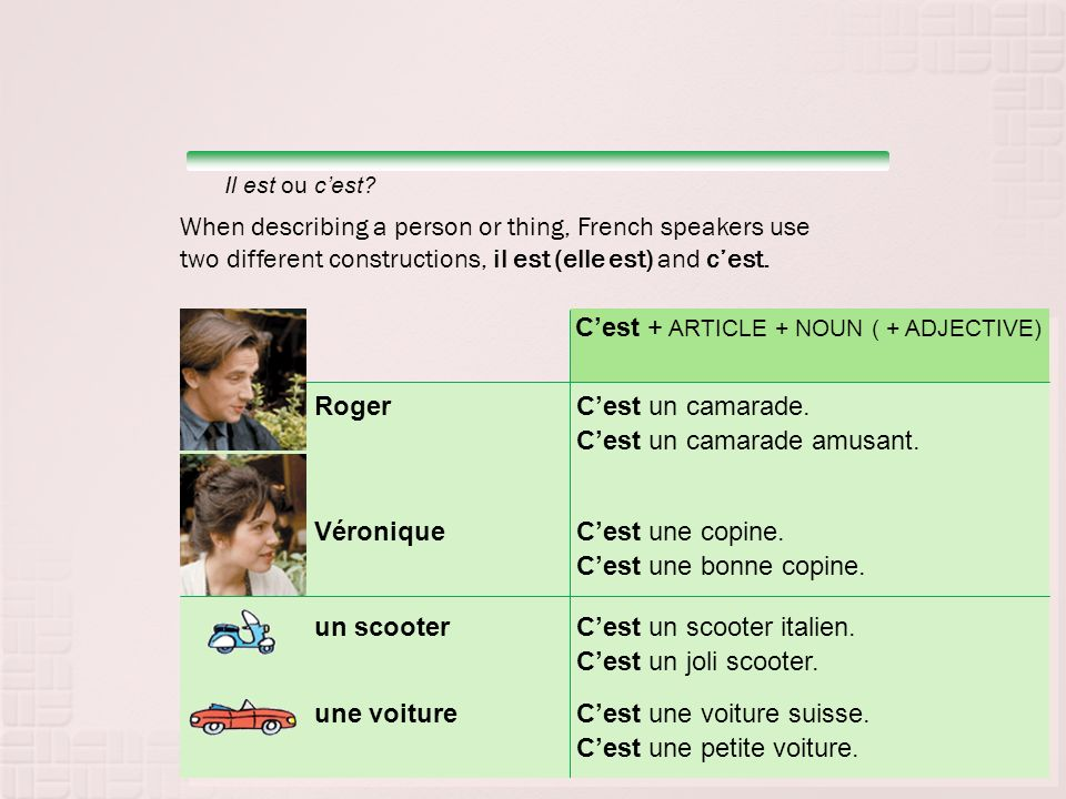 When describing a person or thing, French speakers use two different constructions, il est (elle est) and cest.