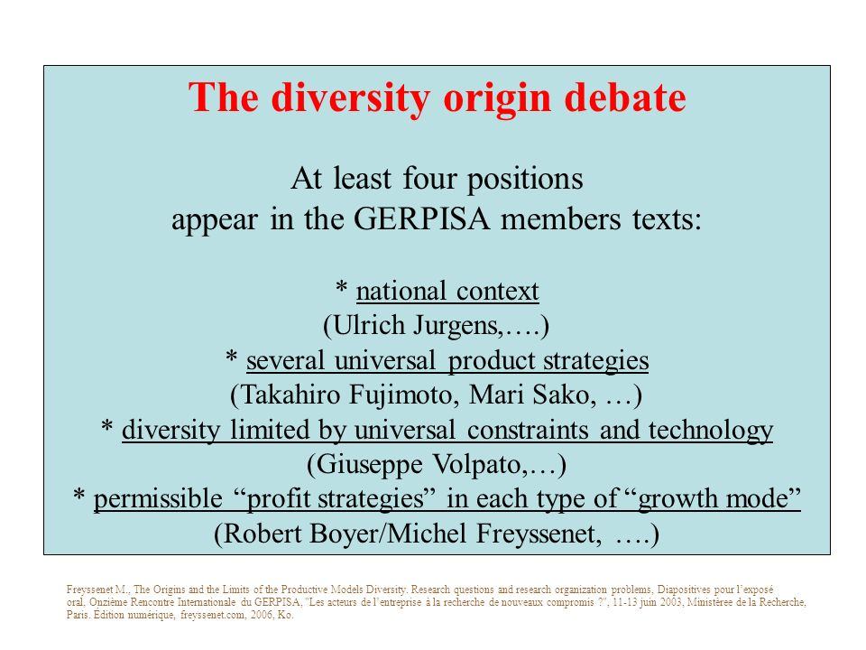 The diversity origin debate At least four positions appear in the GERPISA members texts: * national context (Ulrich Jurgens,….) * several universal product strategies (Takahiro Fujimoto, Mari Sako, …) * diversity limited by universal constraints and technology (Giuseppe Volpato,…) * permissible profit strategies in each type of growth mode (Robert Boyer/Michel Freyssenet, ….) Freyssenet M., The Origins and the Limits of the Productive Models Diversity.
