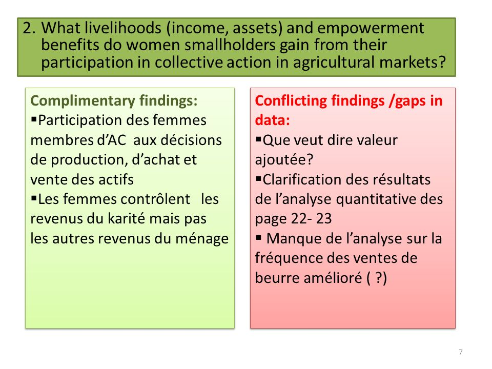 7 2.What livelihoods (income, assets) and empowerment benefits do women smallholders gain from their participation in collective action in agricultural markets.