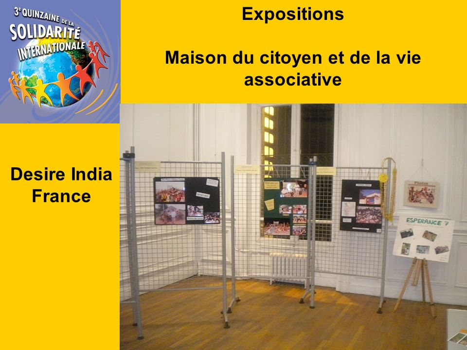 Expositions Maison du citoyen et de la vie associative Desire India France