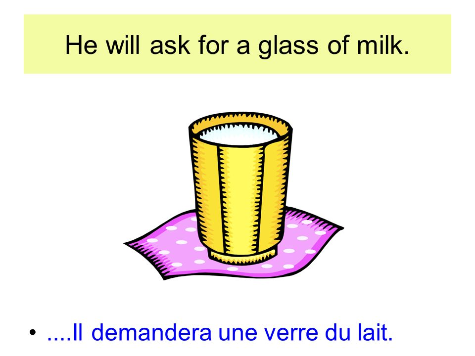 He will ask for a glass of milk.....Il demandera une verre du lait.