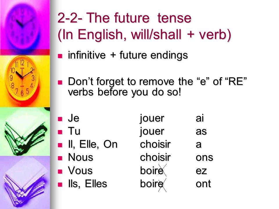 2-2- The future tense (In English, will/shall + verb) infinitive + future endings infinitive + future endings Dont forget to remove the e of RE verbs before you do so.