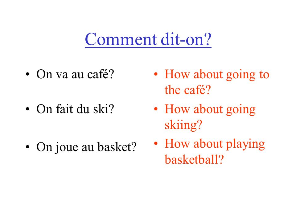 Comment dit-on. On va au café. On fait du ski. On joue au basket.