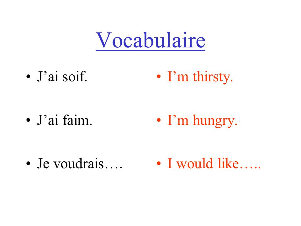 Vocabulaire Jai soif. Jai faim. Je voudrais…. Im thirsty. Im hungry. I would like…..