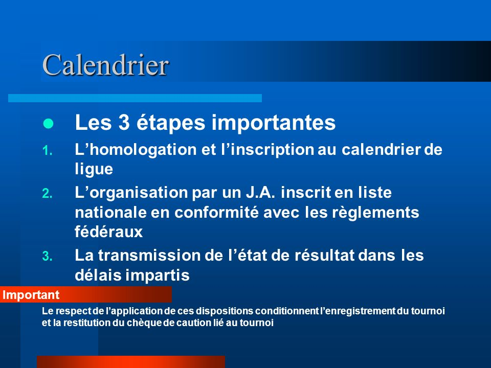 Calendrier Les 3 étapes importantes 1. Lhomologation et linscription au calendrier de ligue 2.