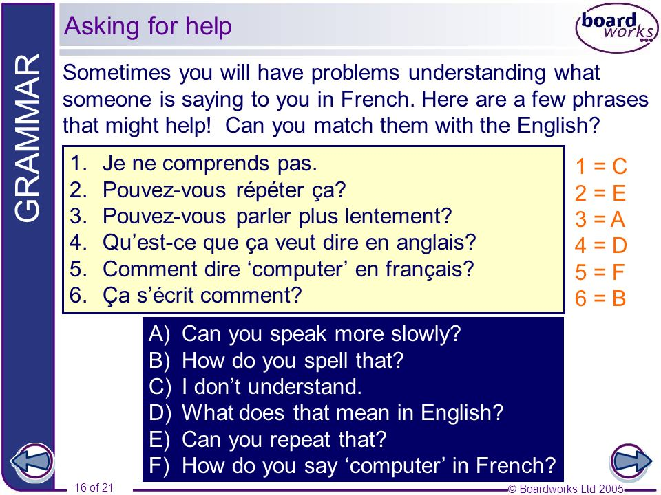 © Boardworks Ltd 2005 16 of 21 GRAMMAR Sometimes you will have problems understanding what someone is saying to you in French.