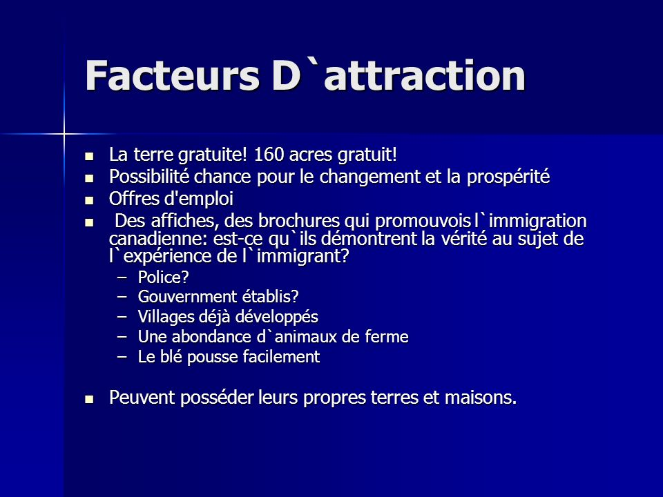 Facteurs D`attraction La terre gratuite. 160 acres gratuit.