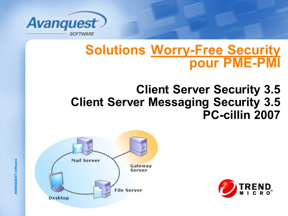 Solutions Worry-Free Security pour PME-PMI Client Server Security 3.5 Client Server Messaging Security 3.5 PC-cillin 2007