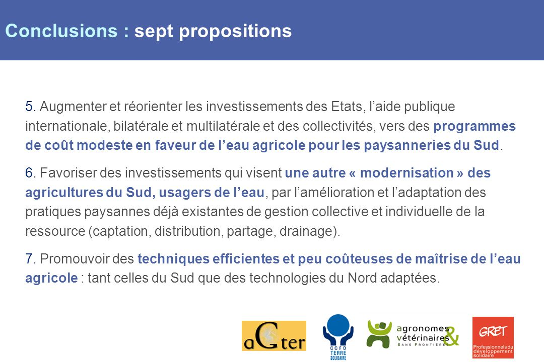 Page 11 Conclusions : sept propositions 5.