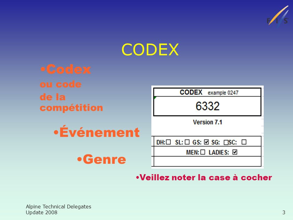 Alpine Technical Delegates Update Codex ou code de la compétition Événement Genre CODEX Veillez noter la case à cocher