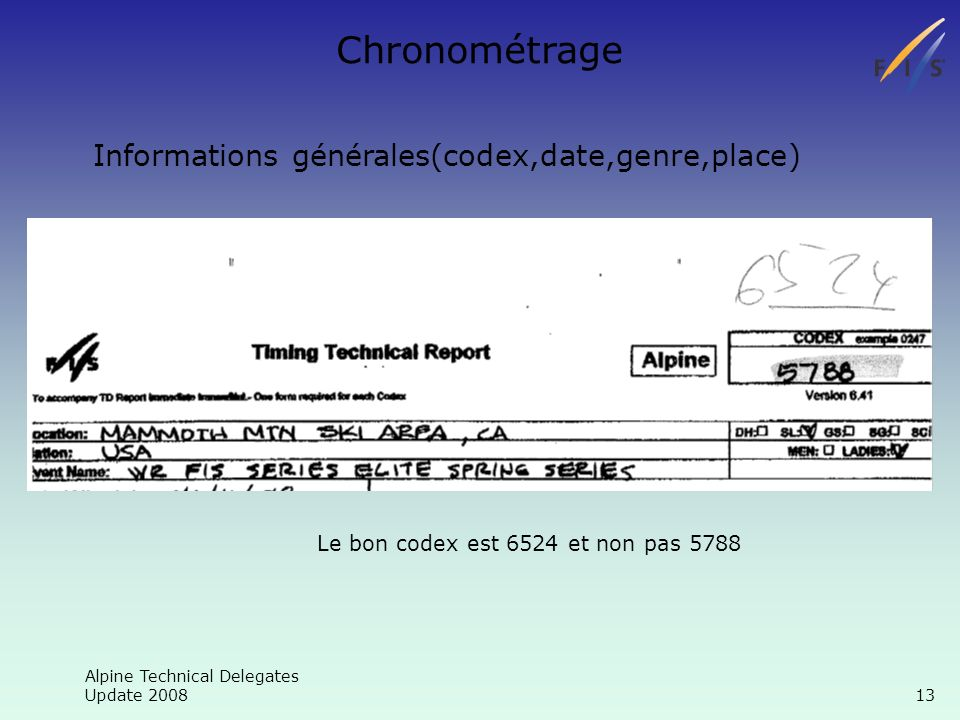 Alpine Technical Delegates Update Chronométrage Informations générales(codex,date,genre,place) Le bon codex est 6524 et non pas 5788