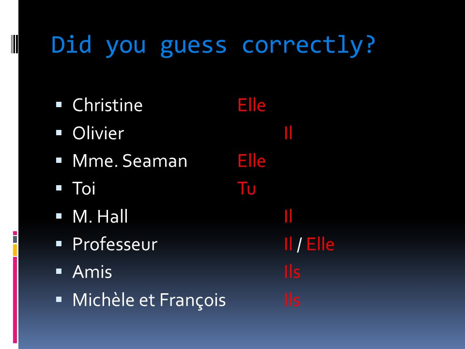 Did you guess correctly. ChristineElle OlivierIl Mme.