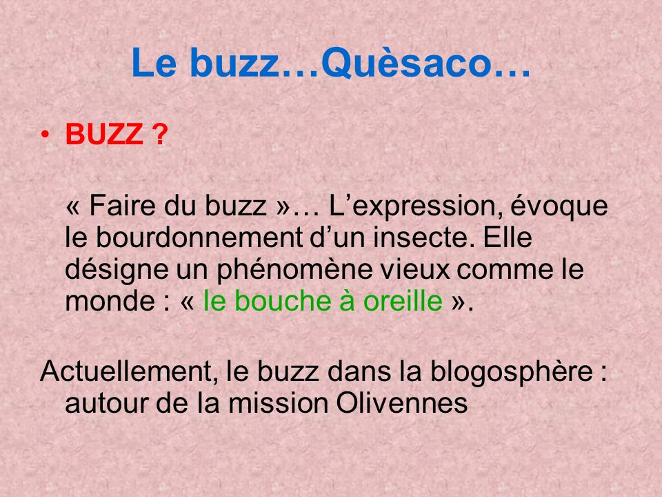 Le buzz…Quèsaco… BUZZ . « Faire du buzz »… Lexpression, évoque le bourdonnement dun insecte.