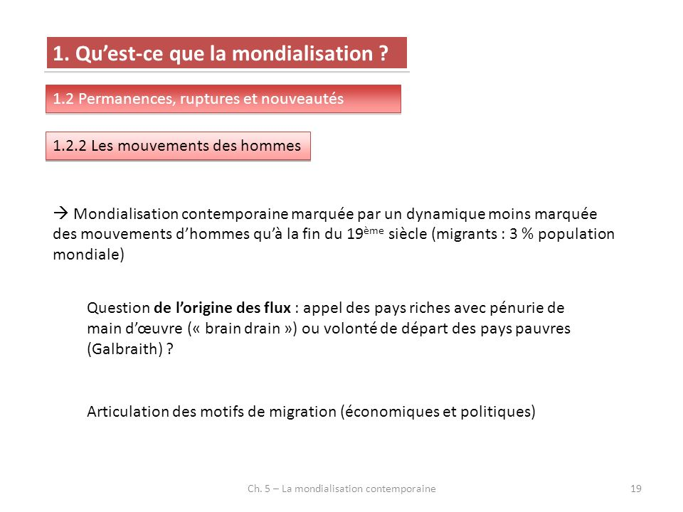 Ch. 5 – La mondialisation contemporaine19 1. Quest-ce que la mondialisation .