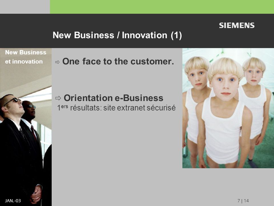 s JAN | 14 New Business / Innovation (1) One face to the customer.