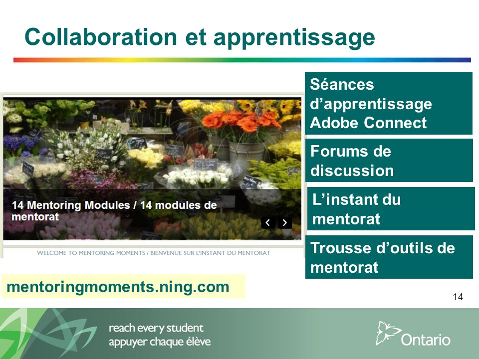 14 Collaboration et apprentissage Linstant du mentorat mentoringmoments.ning.com Séances dapprentissage Adobe Connect Forums de discussion Trousse doutils de mentorat
