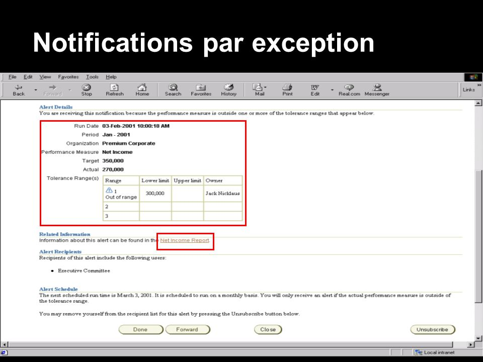 « Copyright 2002, Oracle Corporation. Tous droits réservés » Notifications par exception