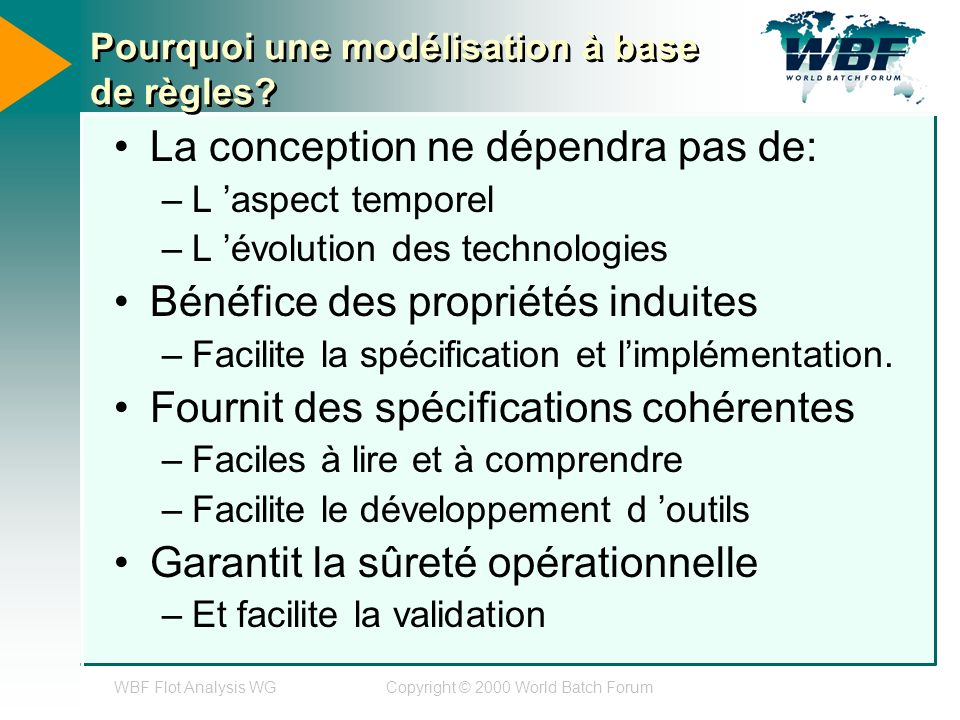 WBF Flot Analysis WGCopyright © 2000 World Batch Forum Pourquoi une modélisation à base de règles.