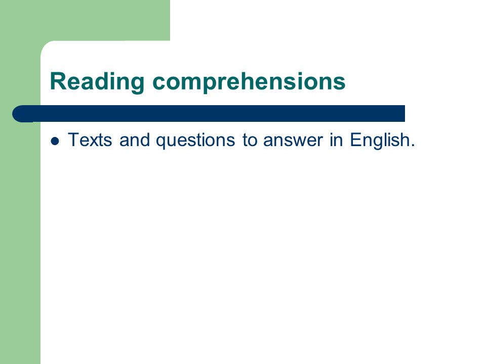 Reading comprehensions Texts and questions to answer in English.