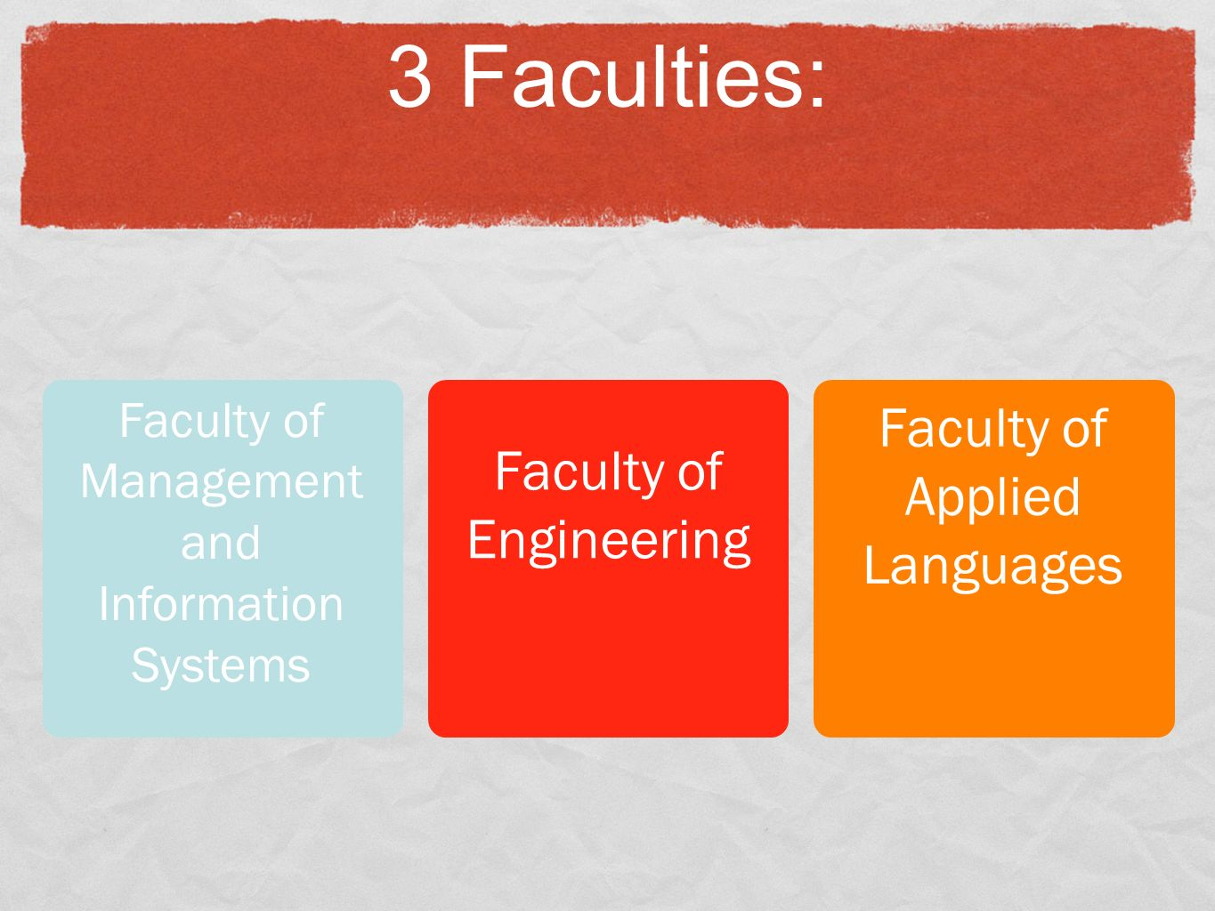 3 Faculties: Faculty of Management and Information Systems Faculty of Engineering Faculty of Applied Languages