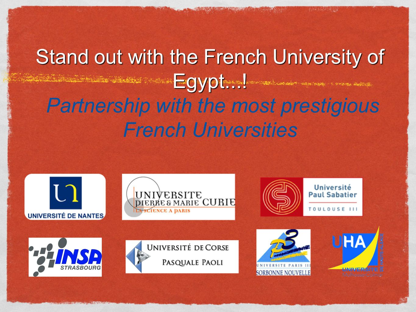 Stand out with the French University of Egypt....