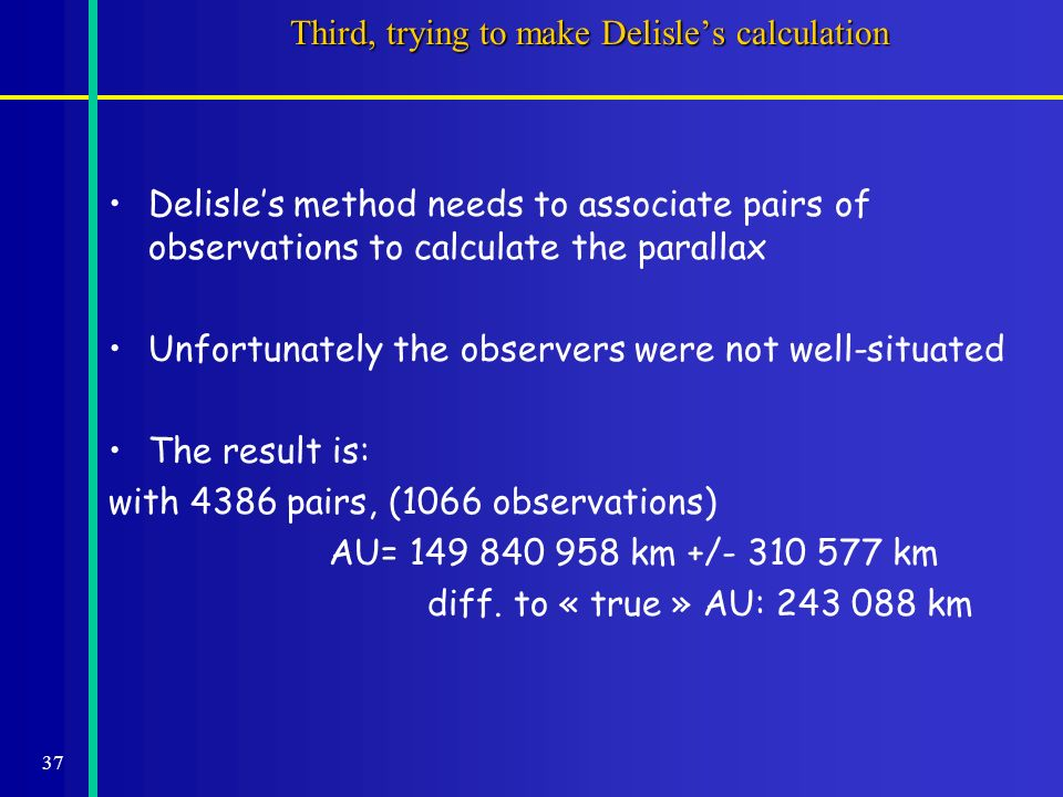 37 Third, trying to make Delisles calculation Delisles method needs to associate pairs of observations to calculate the parallax Unfortunately the observers were not well-situated The result is: with 4386 pairs, (1066 observations) AU= 149 840 958 km +/- 310 577 km diff.